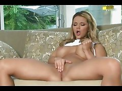 Cute blonde Ashlynn Brooke having horny solo masturbation action