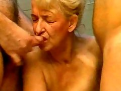Old skank getting molested by a brutal men