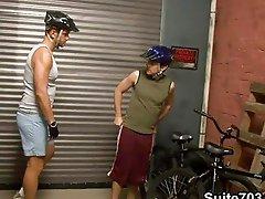 Biker boy gets eaten out