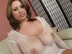 Gorgeous brunette momma with massive knockers in bodystocking gets humped