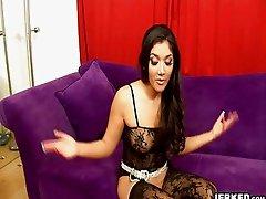 Classy brunette babe fucks in sexy black lingerie