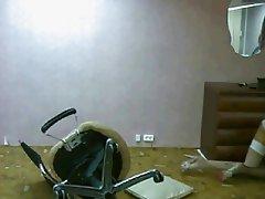 russian girl falls off chair