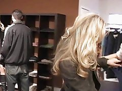 2 profi lesbians pick up a tall blonde in a store