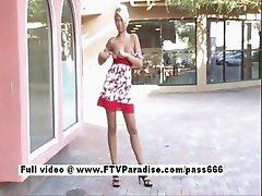 Delightful Amateur stunning blonde public flashing tits