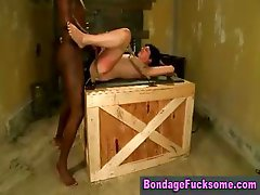 Brunette slut gets fucked hard on top of a wooden crate