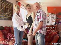Perverted parents seduces their sons GF
