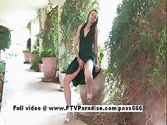 Awesome girl Amelia brunette public masturbating and posing outdoor