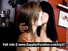 Misha and Yannie amazing lesbos toying pussy using a large dildo and having lesbo sex