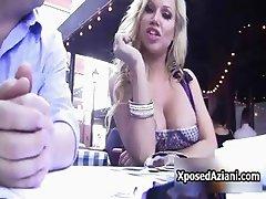 Stunning blonde babe exposing her big