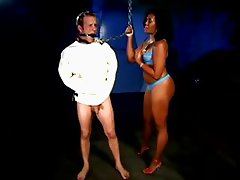 Bootylicious Sydnee Capri shocking her slave in straight jacket