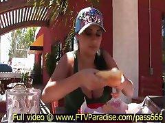 Alexa Loren superb brunette babe at a restaurant outside eating