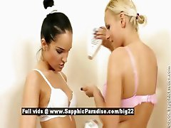 Eve and Esmeralda from sapphic erotica lesbo girls kissing