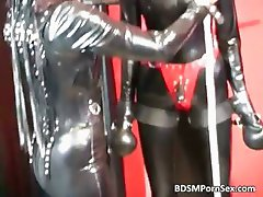Dirty brunette in latex gets bonded part3