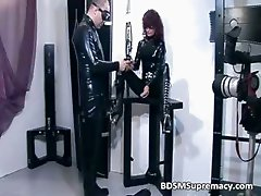 Ginger whore in rubber cloth gets cunt part3