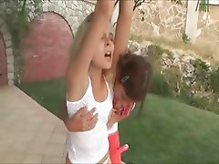 Great lesbian teen fun in the grass