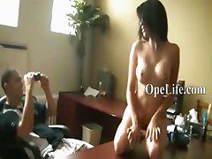 Brunette princess fingering on table