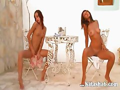 Two lithuanian chicks naked outdoor