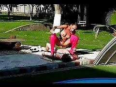 18yo teen punishing and fucking her coach by the pool