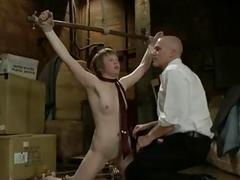 Girl throat fucked and flogged in bdsm