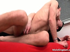 Horny queer is sucking a massive cock