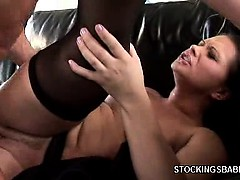 Redhead in Stockings Loves Anal