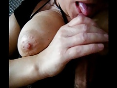 Jerking Cock and Swallowing Cum in Stockings and Heels