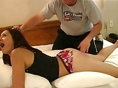 Cutie with a fat ass gets groped and spanked hard
