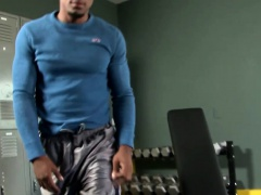 Thickcock ebony hunk masturbates after workout