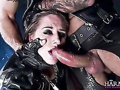 Gorgeous biker slut lets him use her holes