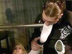 Older blonde getting bondaged and punished