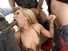 Gangbang for a sexy swimsuit blonde slut