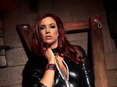 Bound hottie pleases herself while still chained up
