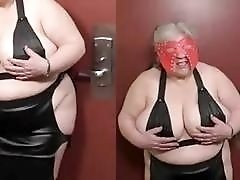 Old fat submissive slut receives a hard impact pike BDSM