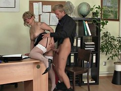 office sex with hot mature woman