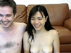 Beautiful Chinese babe gives a blowjob and gets facialized