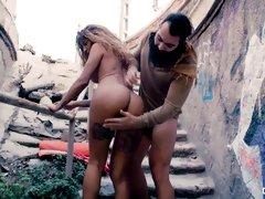 Big-boobed ebony Venus Afrodita screwed outdoor in the cowgirl pose