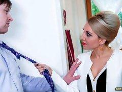 Seductive blonde Czech stepmom Vanessa K. gets cum on pussy from stepson