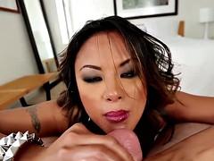 asian girl sucking bigcock and swallows cum
