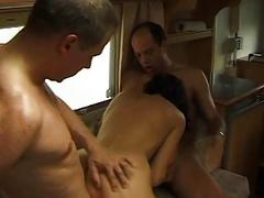 Amateur girlfriend threesome in a campingcar