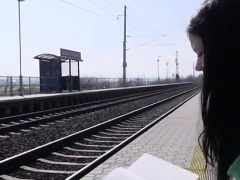 Brunette sucks big cock Masturbating at the train station