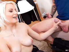 Playful blonde with big melons Lucy Shine fucks with a photographer
