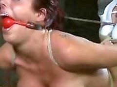 Girl with big tits has bondage session with master BDSM