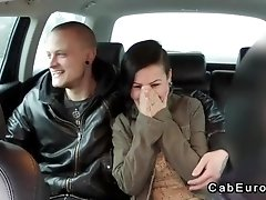 Married couple foreplay in fake taxi