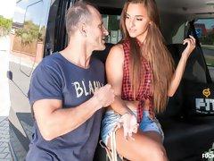 Hungarian teen beauty Amirah Adara rides cabbie George Uhl in the backseat