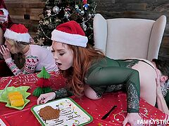 Christmas special with two babes swapping partners