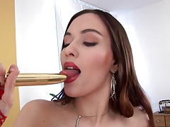 Busty Brunette EU Babe Makes Herself Cum With Gold Cock
