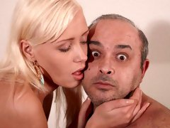 Bleached hottie with an innocent face Teena fucked by an old man