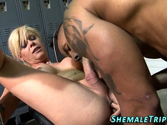 Seasoned tgirl creampied