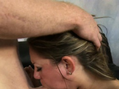 Allie Foster hair pulled during blowjob