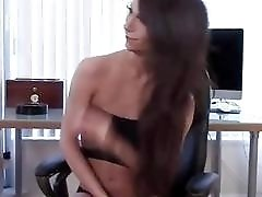 Brunette shemale jerks off her cock before cucumber ass plow
